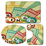 3 Piece Bath Mat Rug Set,Vintage-Decor,Bathroom Non-Slip Floor Mat,Bingo-Game-with-Ball-and-Cards-Pop-Art-Stylized-Lottery-Hobby-Celebration-Theme,Pedestal Rug + Lid Toilet Cover + Bath Mat,Multi