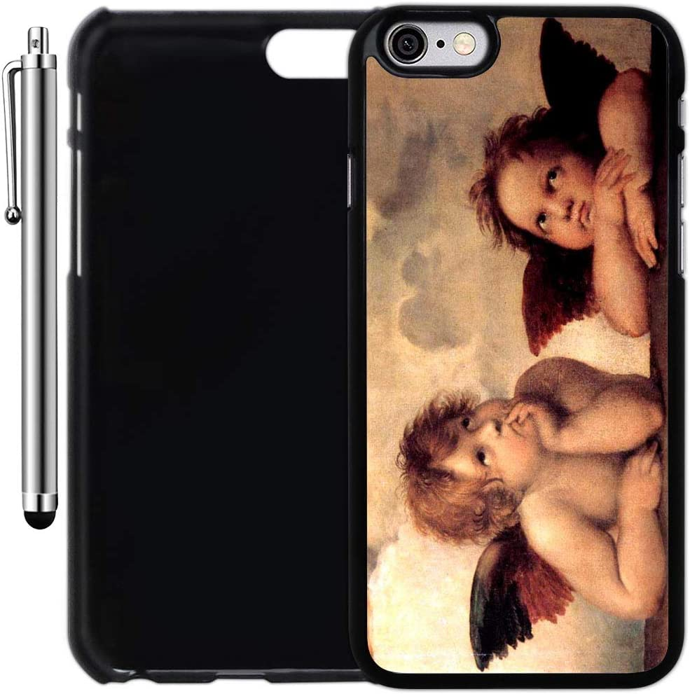 Custom Case Compatible with iPhone 6/6S (4.7 inch) (The Sistine Madonna Cute Angels) Plastic Black Cover Ultra Slim | Lightweight | Includes Stylus Pen by Innosub