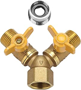 """Garosa Washing Machine Water Splitter, Laundry Sink Y Wye Water Splitter Valve, Female 1/2"""" to 3/4"""", 1/2"""" Male"""