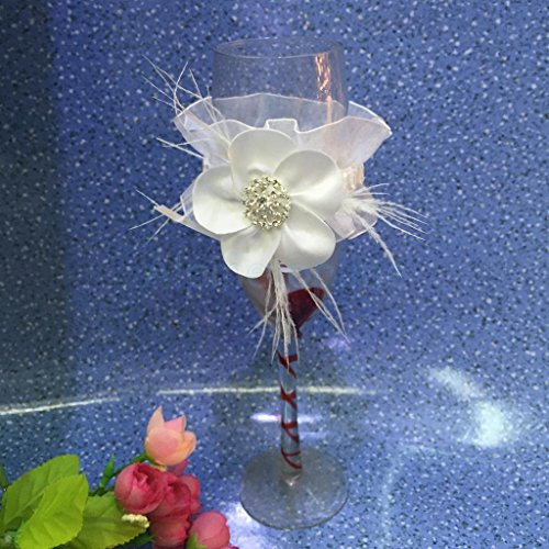 2pcs White Flower Feather Wedding Party Wine Glass Veil Cup Cover Dec Supply