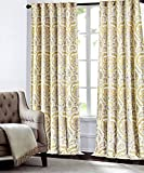 Tahari Home Camden Paisley Scrolls Window Panels 52 by 96-inch Set of 2 Floral Medallions Window Curtains Hidden Tab Drapes Mustard Yellow Gray Ivory Beige Grey Boho Style