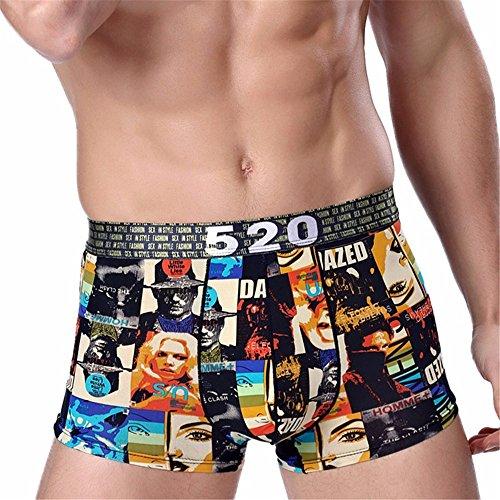Men Underwear Sexy Boxers Shorts Cueca Ice Silk Printed Mid-waist Underpant calzoncillos marca (XXXL)