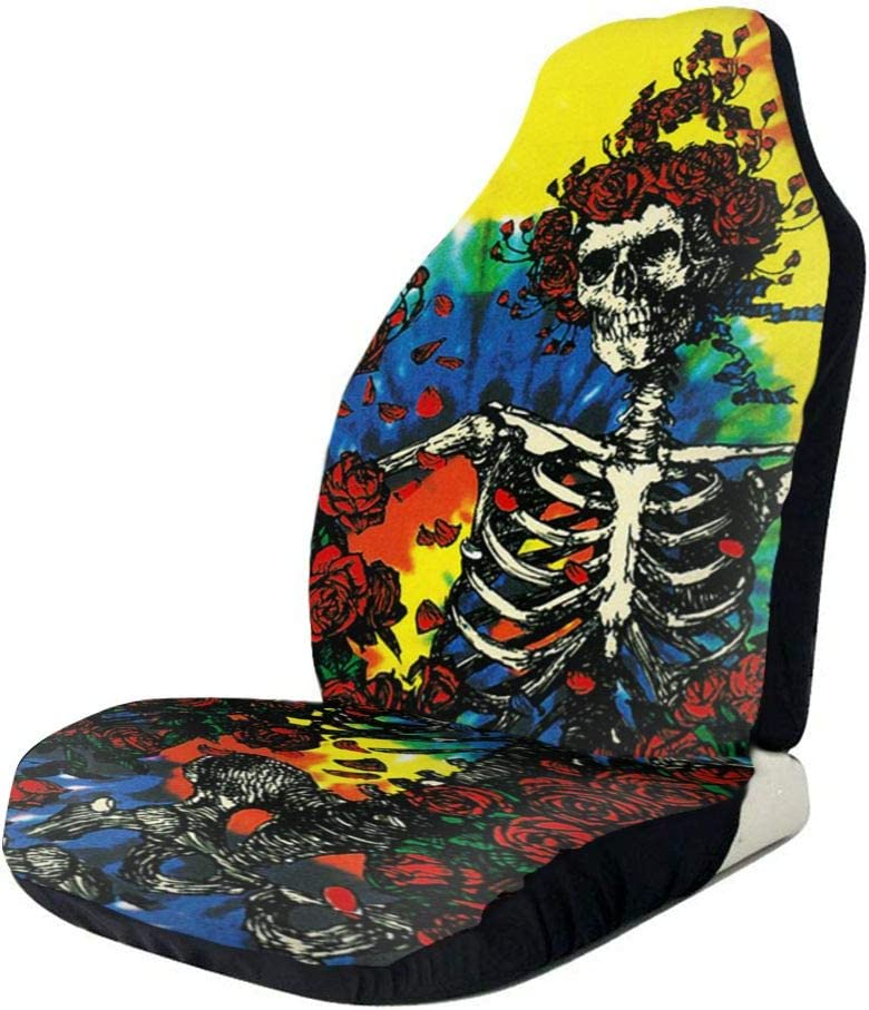TAK-JK6 Car Seat Covers Dead Skull of Roses Front Seat Protectors Cushion Compatible with Most Cars Truck SUV Van