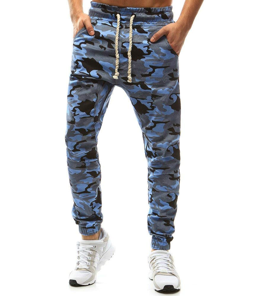 Spbamboo Mens Camouflage Pants Tethers Elastic Belts Slim Fit Casual Trousers