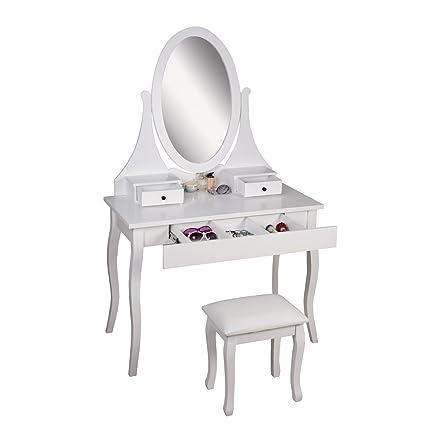 Amazoncom Organizedlife White Makeup Vanity Desk Set With Bench