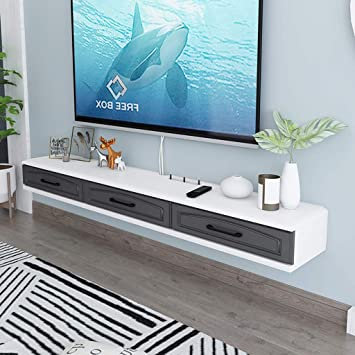 Amazon Com Wall Mounted Tv Cabinet With Drawer Wall Shelf Floating Shelf Set Top Box Router Dvds Storage Shelf Multimedia Console Tv Background Wall Decoration Shelf Color Gray Furniture Decor