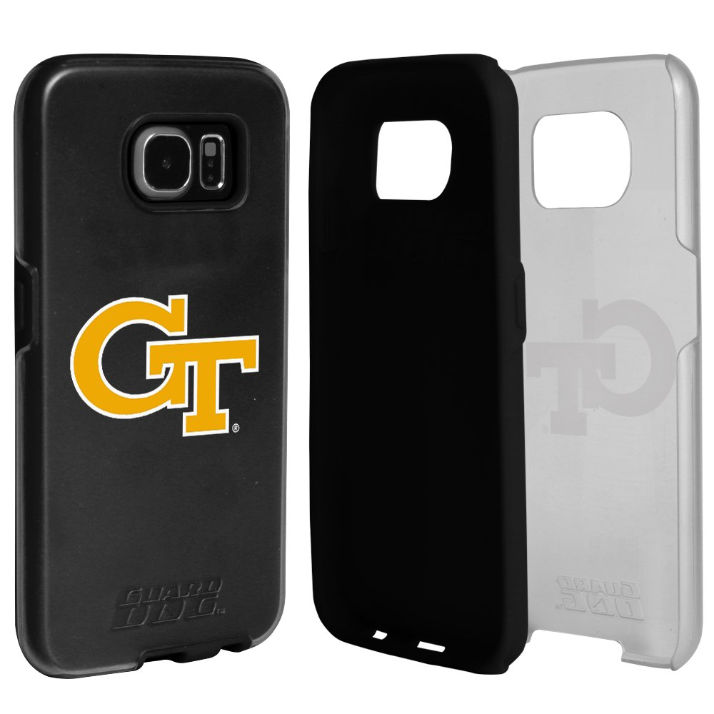 60%OFF Georgia Tech Yellow Jackets Clear Hybrid Case for Samsung Galaxy S7 with Black Insert and Guard Glass Screen Protector