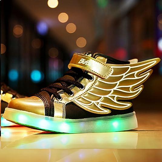 UDreamTime Kinder 7 Farben LED-Blitzen-Turnschuhe Sportschuhe mit Flügeln Schwarz EU32 j12ehMEYq
