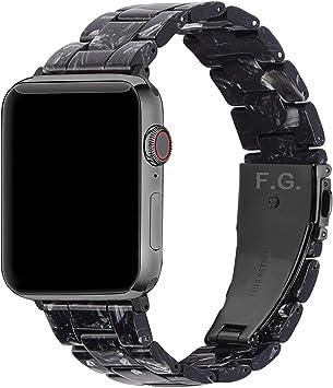 Fullmosa 7 Colores Correa de Resina Compatible con Apple Watch de 38mm 40mm 42mm 44mm, Correa Reloj para iWatch SE, Serie 6/5/4/3/2/1, Nike+ Deporte, 44mm Negro/Herraje Gris: Amazon.es: Electrónica