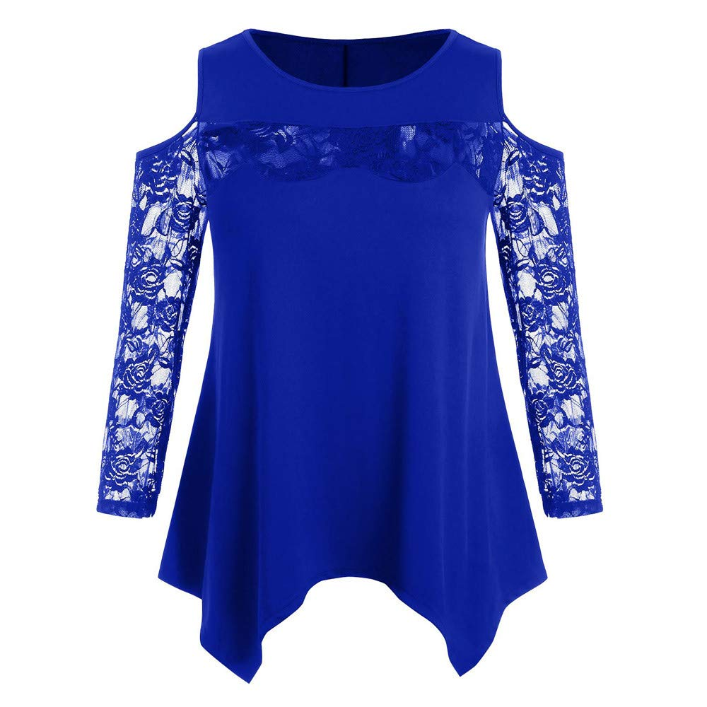 Plus Size Blouse for Women Casual Lace Patchwork Solid Open Shoulder O-Neck T-Shirt Tops