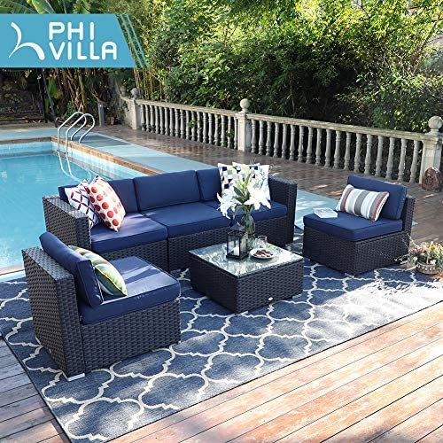 PHI VILLA Outdoor Rattan Sectional Sofa- Patio Wicker Furniture Set 6-Piece 2