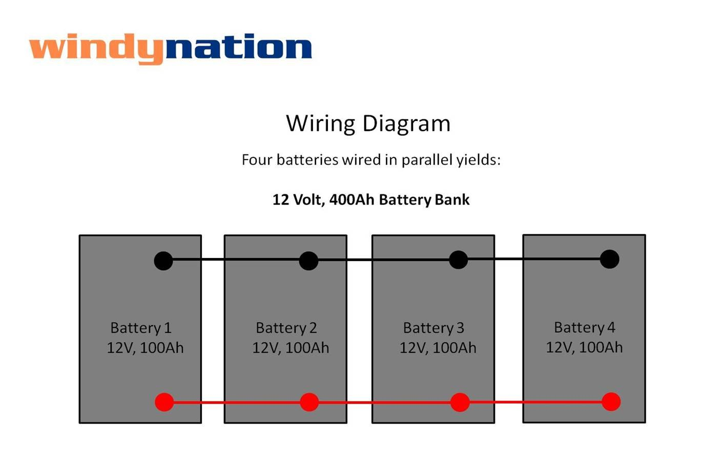 4 12 Volt Battery Diagram Electrical Wiring Diagrams Solar Parallel Amazon Com 4pcs Windynation 100 Amp Hour 100ah 12v Agm Deep Alternator