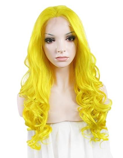 Imstyle Kim Kardashian estilo brillante amarillo Color de largo cuerpo Wave Drag Queen sintético Lace Front