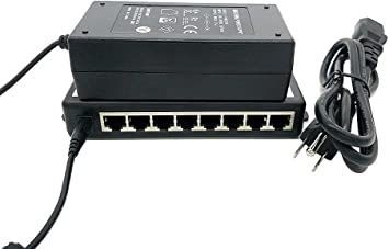 60 Watts Total Power POE-8-48v60w VOIP Phones or Access Points with 48 Volts 8-Port Passive 10//100 Power Over Ethernet Midspan Injector for IP Cameras