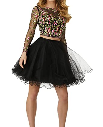 3a5b7674a1a Sweetdress Lace Bodice Homecoming Dresses Short Two Piece Tulle Prom Party Dress  Long Sleeves Black