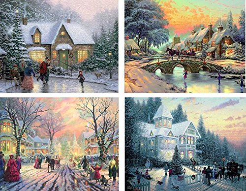Ceaco Thomas Kinkade 4-in-1 Multi-Pack Holiday  Jigsaw Puzzle (500 Pieces)