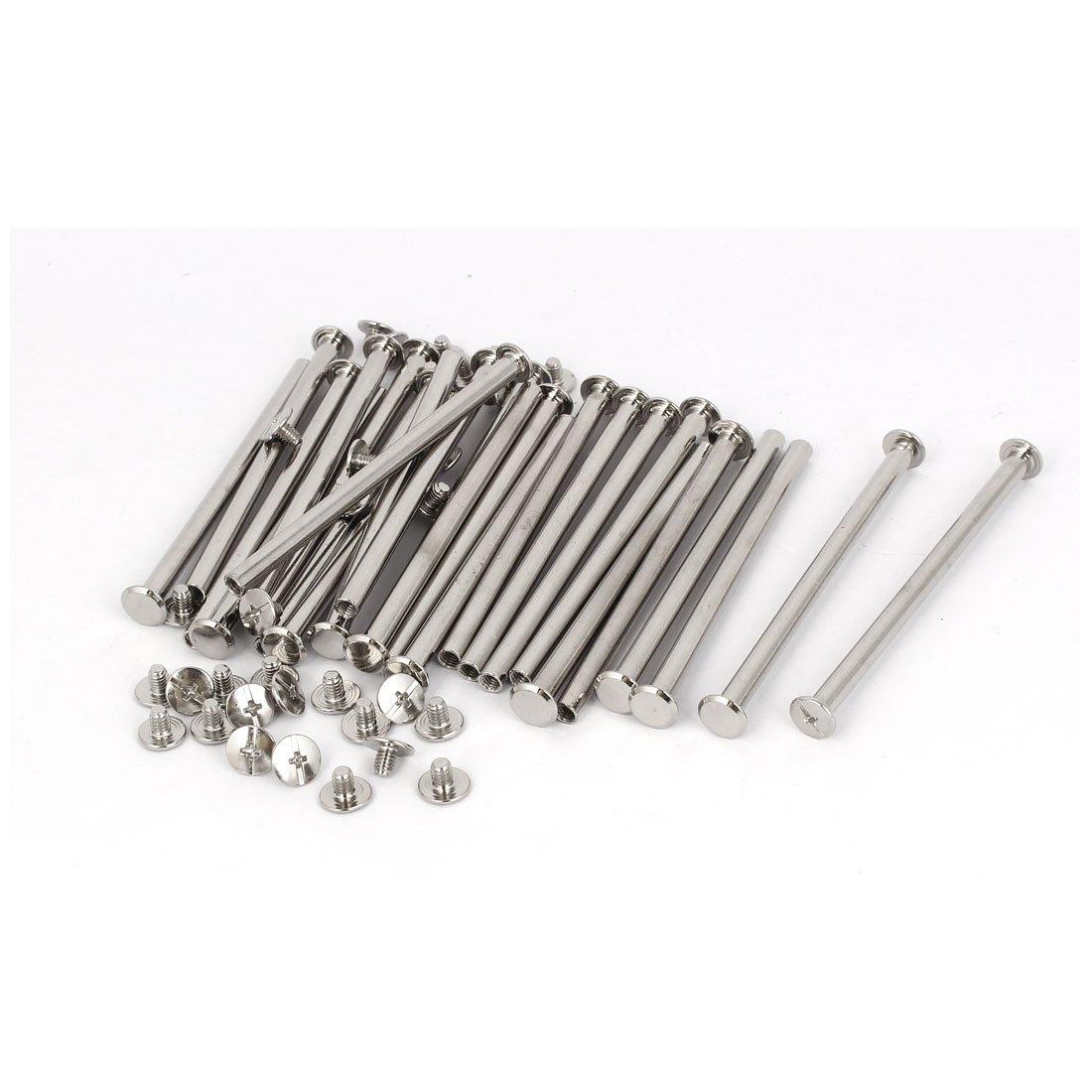 uxcell Photo Albums M5 x 85mm Aluminum Binding Screw Post Silver Tone 20pcs