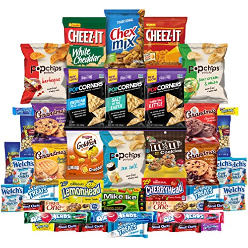 Cookies Chips & Candies Care Package Variety Pack Bundle Assortment Bulk Sampler (45 Count) (Chocolate Wrapped Custom)