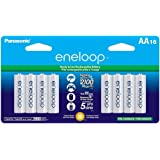 Panasonic BK-3MCCA16FA eneloop AA 2100 Cycle Ni-MH Pre-Charged Rechargeable Batteries, (package includes 16AA blue or 16AA wh
