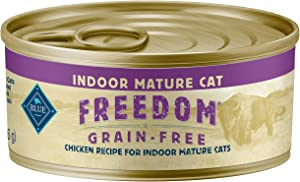 Blue Buffalo Freedom Grain Free Natural Mature Pate Wet Cat Food Indoor Chicken 5.5-oz cans (Pack of 24)