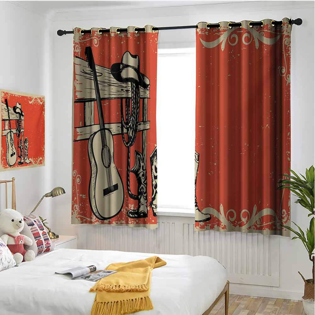 Western Blackout curtains - gasket insulation Image of Wild West Elements with Country Music Guitar and Cowboy Boots Retro Art Blackout curtains for the living room W72 x L108 Inch Beige Orange by hengshu
