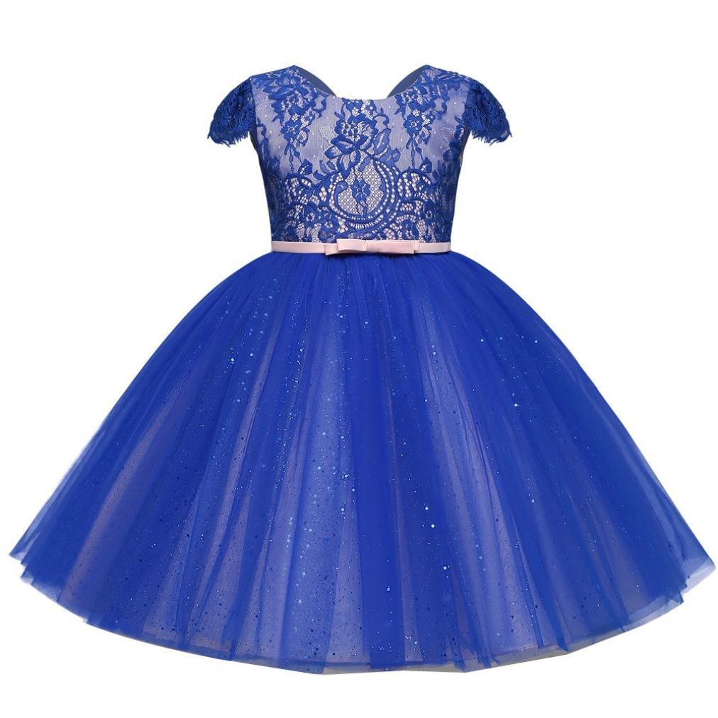 kaiCran Fashion Lace Little Girl Princess Dress Bridesmaid Pageant Tutu Tulle Gown Party Wedding Dress 2-6 yrs (Blue, 120(3-4 yrs))