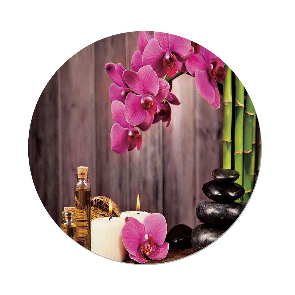 iPrint Polyester Round Tablecloth,Spa Decor,Spa Orchid Flowers Rocks Bamboo Asian Style Aromatherapy Massage Therapy Decorative,Dining Room Kitchen Picnic Table Cloth Cover,for Outdoor Indoor