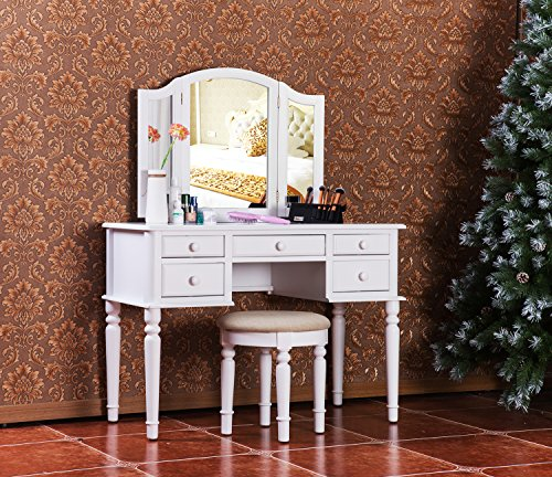 merax vanity set w stool make up dressing table bedroom dressing table white furniture. Black Bedroom Furniture Sets. Home Design Ideas