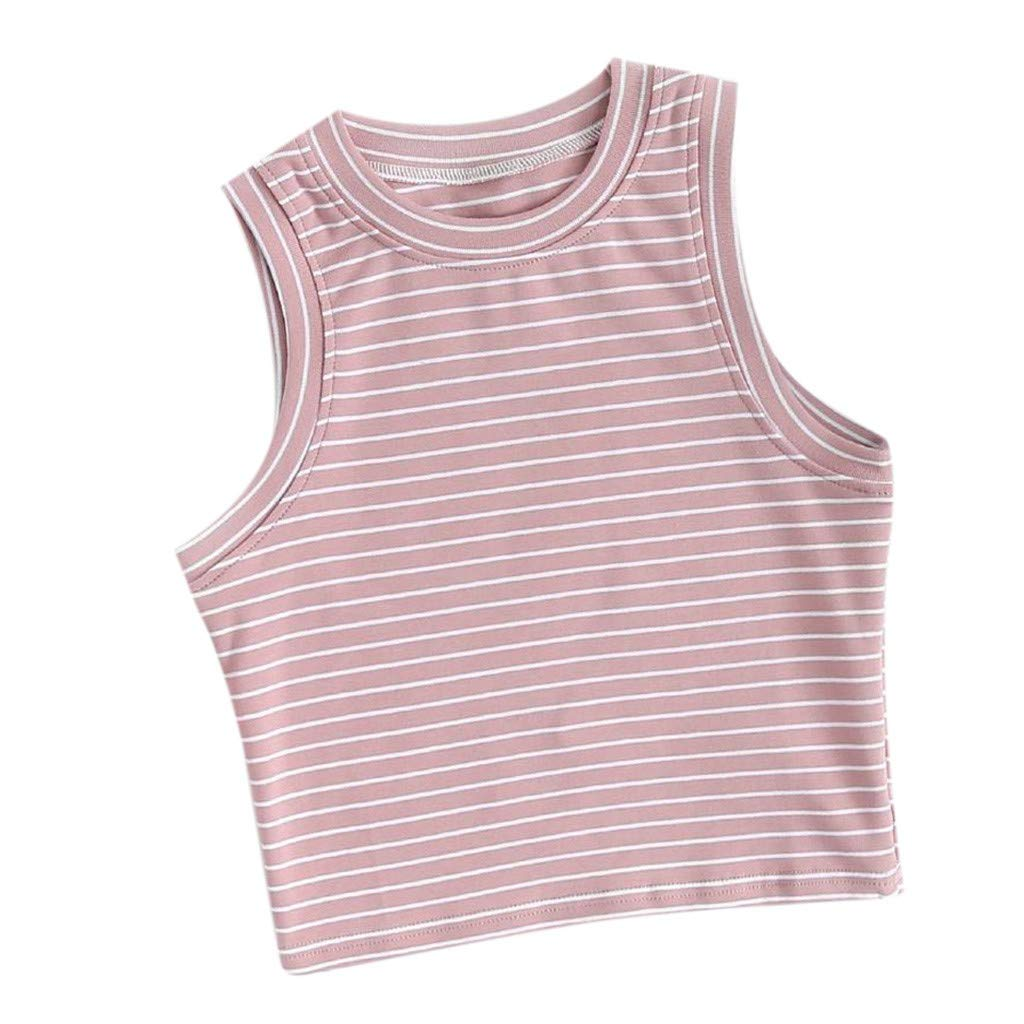 Keliay Womens Tops for Summer,Fashion Women Summer Vest Sleeveless Striped Casual Tank Tops T-Shirt Pink