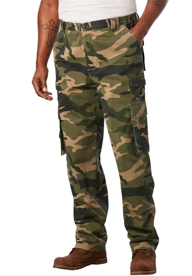 Boulder Creek Men's Big & Tall Side-Elastic Ranger Cargo Pants, Olive Camo