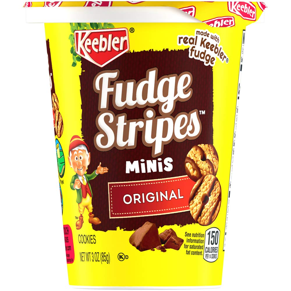 Keebler Fudge Stripes Cookies, Minis in a Cup, Original, 3 Ounce Cups, Pack of 10