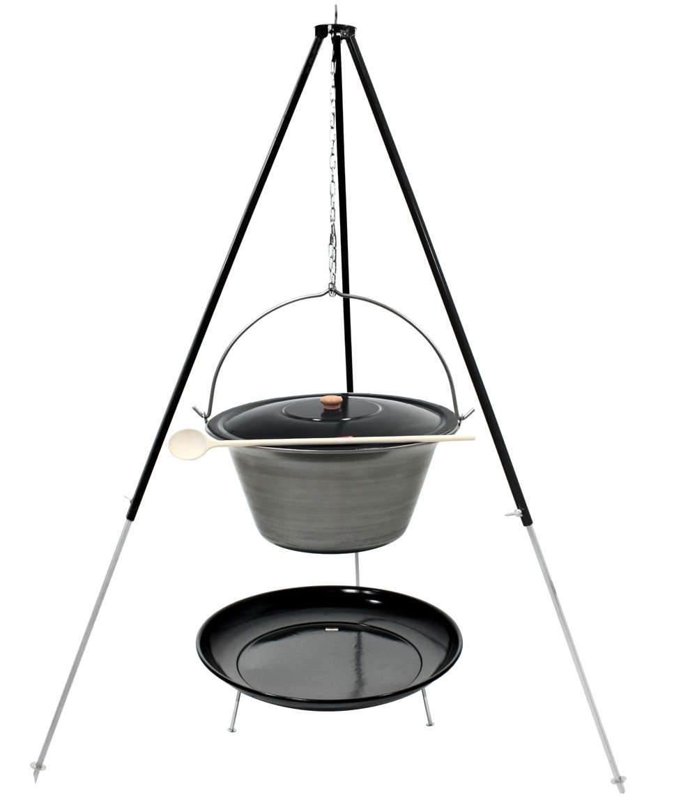 Gulaschkessel Dreibein Set (30 Liter Topf aus Eisen + Deckel + 1,80 m Dreibein + Feuerschale emailliert)