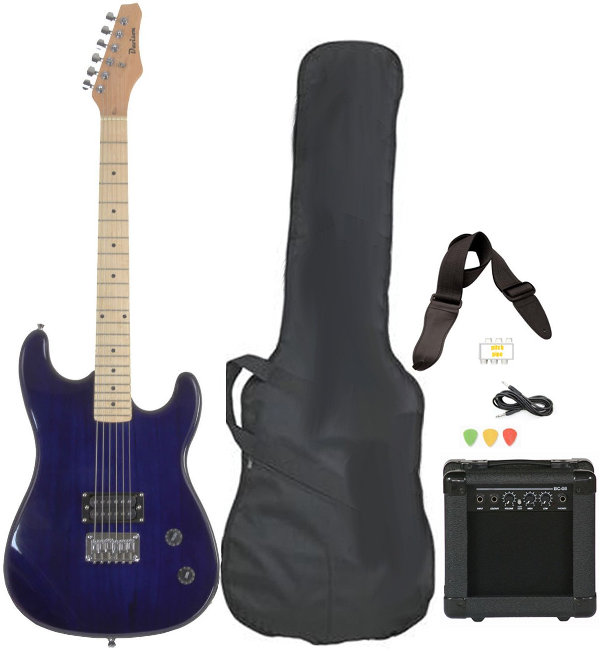 Davison Guitars Full Size Black Electric Guitar with Amp, Case and Accessories Pack Beginner Starter Package Blue Right Handed by Davison Guitars
