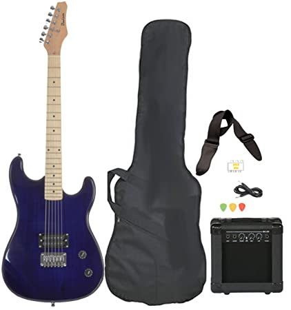 Davison Guitars Full Size Black Electric Guitar With Amp Case And Accessories Pack Beginner Starter
