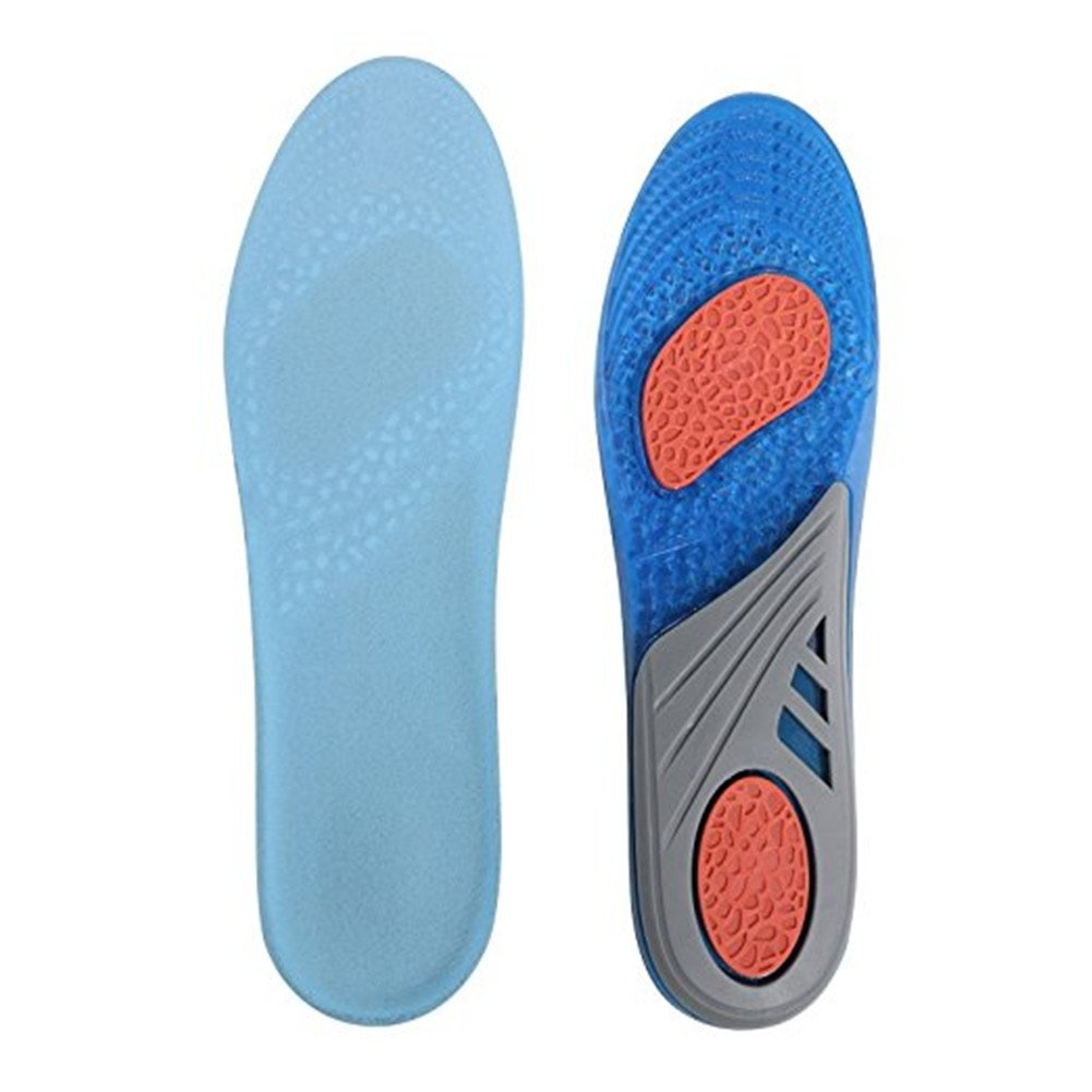 Insoles Comfort Shoe Inserts Shock Absorption Silicone Gel Sports Insoles Pain Relief Shoe Soles (L:7-13)