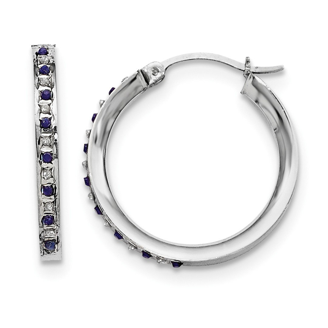 ICE CARATS 925 Sterling Silver Diamond Sapphire Round Hoop Earrings Ear Hoops Set Fine Jewelry Gift Set For Women Heart