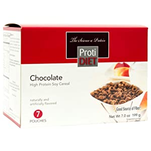 ProtiDiet Cereal - Chocolate Soy (7/Box) - High Protein 15g - Low Calorie - High Fiber 4g