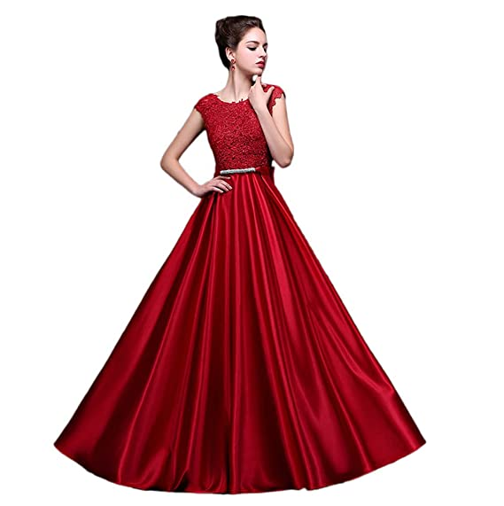 Vimans® Womens Long Dark Red Scoop Satin Prom Dresses for Graduation