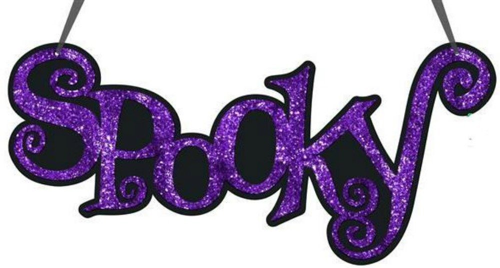 Craig Bachman 14'' Glittered Spooky Sign: Purple & Black Great Door Decoration/Wreath Accent Fall & Halloween Width (Inches): 14'', Height (Inches): 7'', Depth (Inches): 0.25''