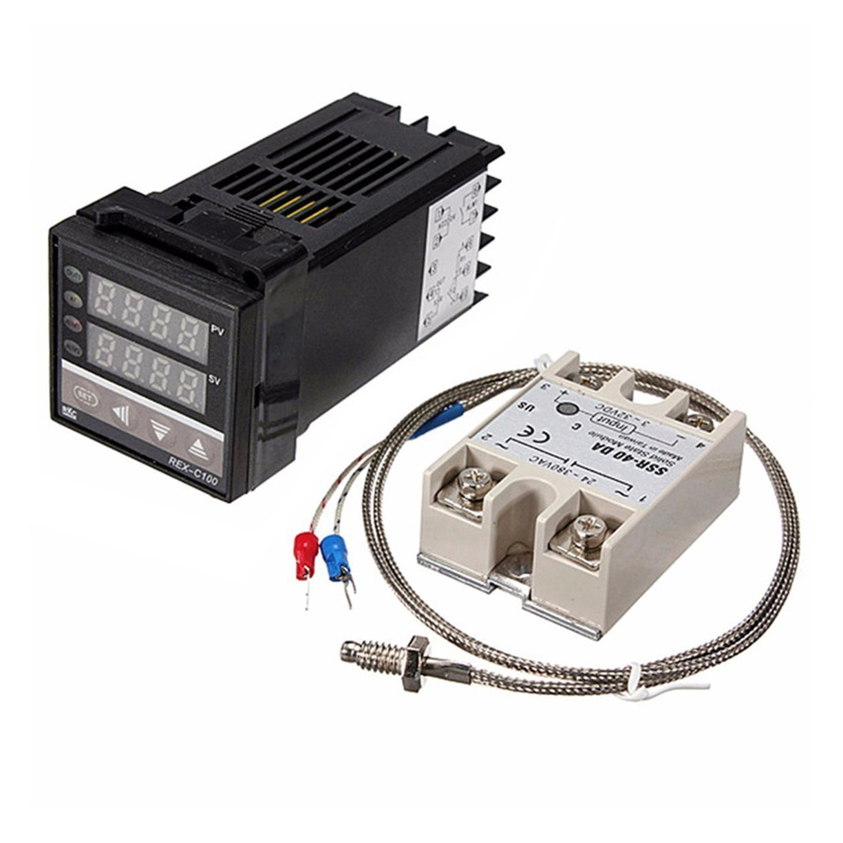 Digital 220V PID REX-C100 Temperature Controller with Max.40A SSR and K Thermocouple PID Controller Set with Heat Sink