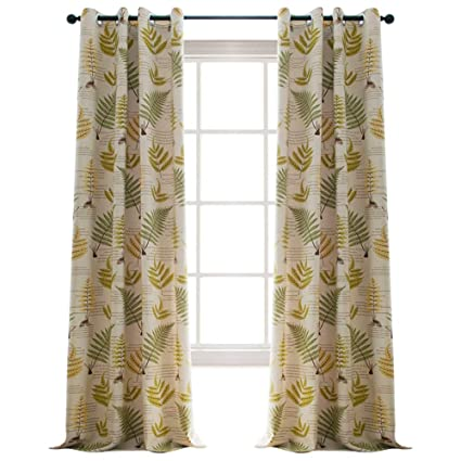 Jaoul Botanical Fern Leaves Linen, Grommet Top Thermal Insulated Curtains  Drapes For Living Room,