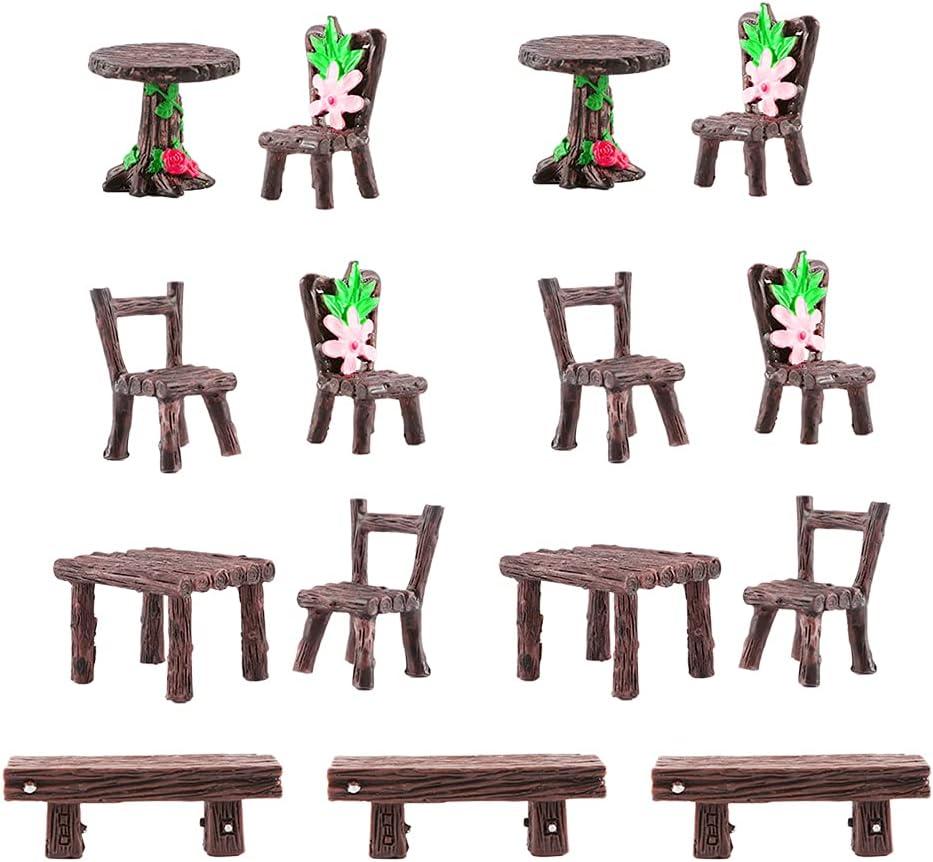 Fairy Garden Accessories, 15pcs Miniature Table and Chairs Set, Fairy Garden Furniture Miniature Ornaments Fairies Dollhouse Accessories Micro Landscape Decoration, Fairy Garden Supplies