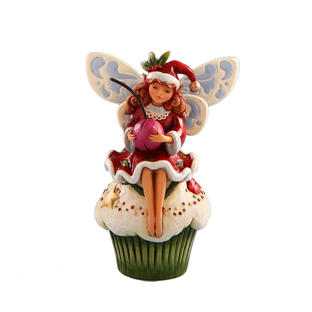 Jim Shore Heartwood Creek from Enesco Fairy on Christmas Cupcake Figurine 4.5 IN