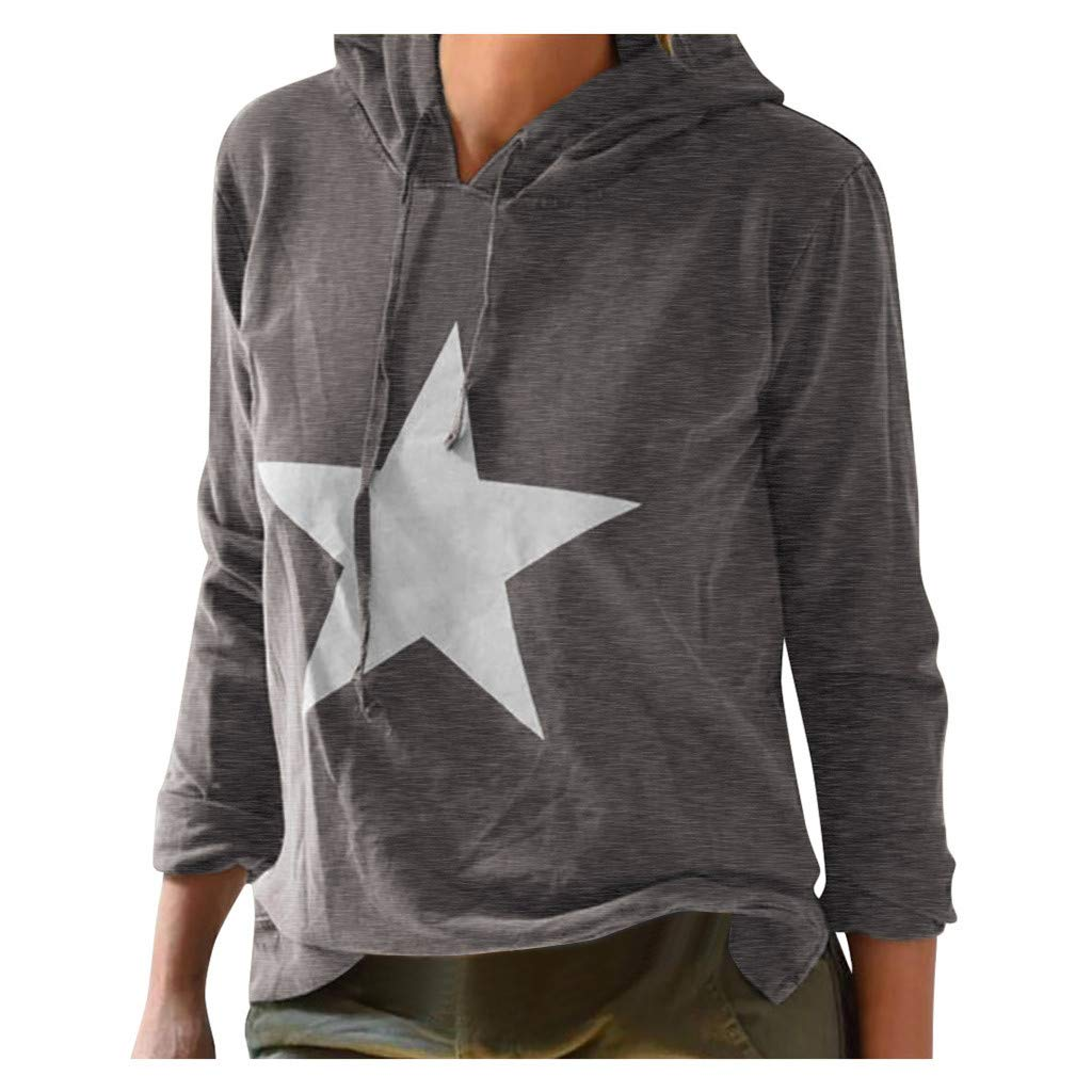 Respctful✿ Fashion Women's Long Sleeve Sweatshirt Sweater Crewneck Star Print Blouse Tops Shirt Gray by Respctful Women's Clothing