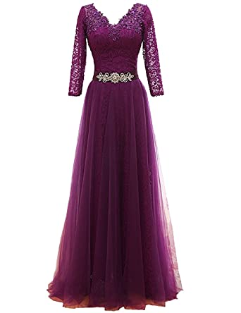 Annies Bridal Womens Evening Prom Dress A-line Formal Gown 3/4 Sleeve Evening