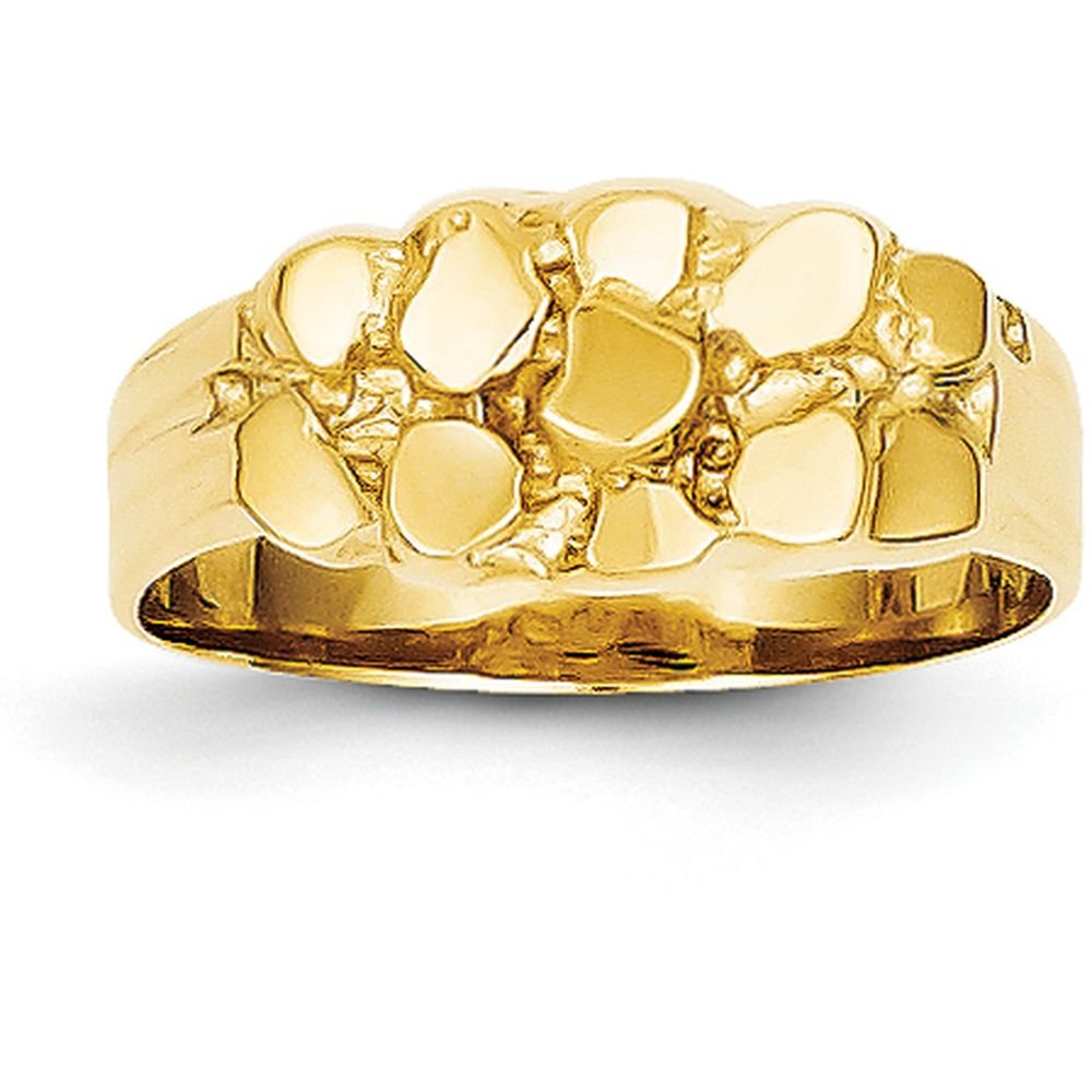14k Yellow Gold Nugget Ring (8mm Width) - Size 7