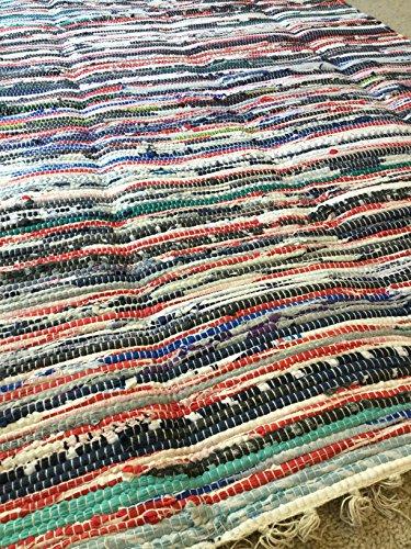Rag rug, handwoven chindi (Rug Swedish Rag)