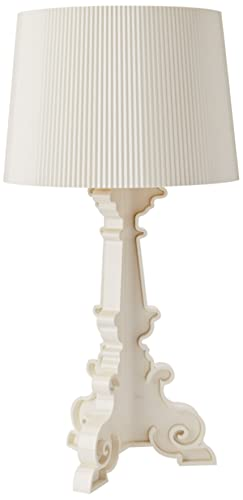 Kartell Bourgie Table Lamp, Polycarbonate, White/Gold, Ø37cm H: 68÷