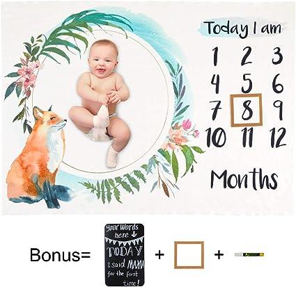 Includes Frame Blackboard Marker Basumee Baby Monthly Milestone Blanket Fox 102x130cm Ultra Soft Fleece Newborn Baby Shower Photography Background