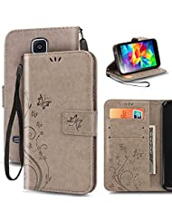 S5 Case, Premiun Wallet Leather Credit Card Holder Butterfly Flower Pattern Flip Folio Stand Case for Samsung Galaxy S5 NEO With a Wrist Strap - Gray